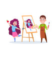 drawing boy school children with paints and brush vector image vector image