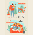 family shopping in the store or buying online vector image