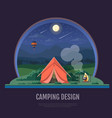 flat style design of mountains and camping tent vector image vector image