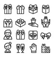 gift box bow icon set vector image vector image