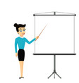 girl shows pointer on white billboard with empty vector image vector image