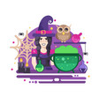halloween poster with witch vector image vector image