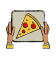 hand boy delivery box pizza drawing vector image vector image