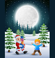 happy christmas with santa claus holding a box gif vector image vector image