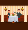 happy couple in love sitting in the restaurant and vector image vector image