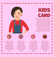 infographic with girl and farm animals vector image vector image