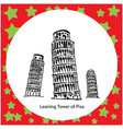 leaning tower of pisa italy hand drawn doodle vector image