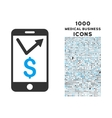 Mobile Sales Report Icon with 1000 Medical vector image vector image