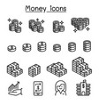 money banking financial icon set in thin line vector image vector image
