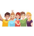 people group selfie guy takes group photo with vector image vector image