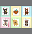 puppies and dogs poster set vector image vector image