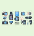 retro and modern cameras flat set vector image
