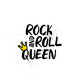 rock and roll queen lettering vector image