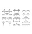set bridges icons types of vector image
