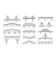 set bridges icons types vector image vector image