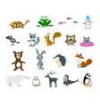 set cartoon animals and snowman vector image