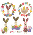set happy easter design elements vector image