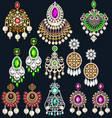 set jewelry with precious stones earrings and vector image vector image