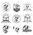 set vintage fishing labels and badges vector image vector image