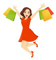 shopping woman surprised vector image vector image