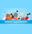 sport equipment banner ball games and fitness vector image
