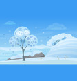 tree in winter forest with vector image vector image