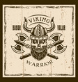 viking bearded skull and axes brown emblem vector image vector image