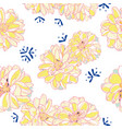 white floral pattern with yellow dahlia vector image vector image