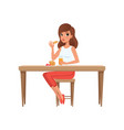 young woman having breakfast people activity vector image vector image