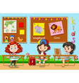 Children studying in the classroom vector image