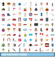 100 fashion icons set cartoon style vector image vector image