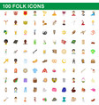 100 folk icons set cartoon style vector image vector image