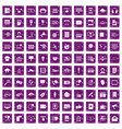 100 information technology icons set grunge purple vector image vector image