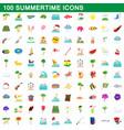 100 summertime icons set cartoon style