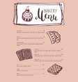 bakery vintage restaurant menu template vector image vector image