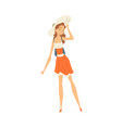 beautiful girl dressed in straw hat and dress s vector image vector image