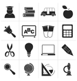 Black education and school icons vector image vector image
