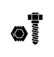 bolt and nut black icon sign on isolated vector image