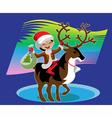 Boy astride reindeer vector image vector image