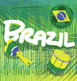 brazil soccer with tropical background vector image