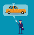 businessman calling taxi with his mobile phone vector image