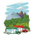 caravan at landscape vector image