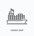 cargo ship flat line icon outline vector image vector image