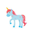 cartoon blue pegasus or unicorn magical one vector image vector image