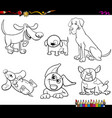 cartoon dogs characters coloring book vector image vector image