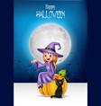 cartoon little witch sitting on halloween pumpkin vector image