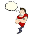 cartoon muscle guy with thought bubble vector image vector image