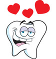 Cartoon tooth with hearts vector image vector image