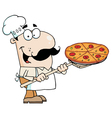 Caucasian Chef Carrying A Pizza Pie vector image vector image