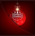 christmas red background with christmas ball vector image vector image